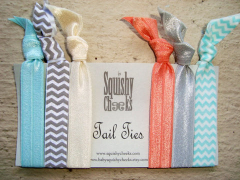 Hair Ties - Aqua, Coral, Gray - 6 Piece - Elastic Headband - Knoted Elastic Hair Ties - No Crease No Pull Hair Ties - Comfortable Hair Bands