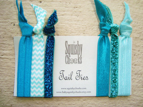Hair Ties and Headbands- Aqua 6 Piece - Knoted Elastic Hair Ties - Elastic Headband - No Crease No Pull Hair Ties -Comfortable Hair Bands