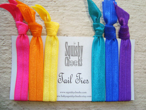 Hair Ties and Headbands- Rainbow 6 Piece - Knoted Elastic Hair Ties - Elastic Headband - No Crease No Pull Hair Ties -Comfortable Hair Bands