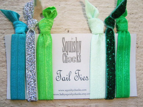 Green Knotted Hair Ties & Headbands