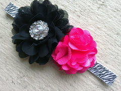 Zebra, Black and Hot Pink Headband