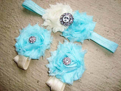 Rhinestone Baby Barefoot Sandals and Headband Set - YOU PICK COLORS
