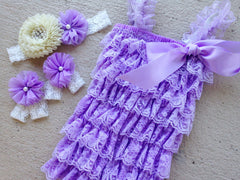 Purple and Ivory Lace Romper Outfit