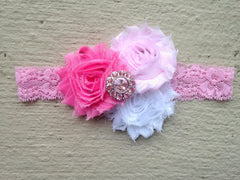 Pink Baby Headband with Pink Rhinestones