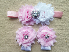 Pink and White Rhinestone Piggy Petal Sandals and Headband Set