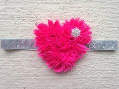Hot Pink Rosette Heart Headband
