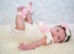 Ivory and Light Pink Lace Romper Outfit