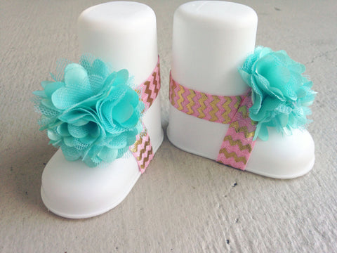 Aqua, Pink and  Gold Chevron Piggy Petals