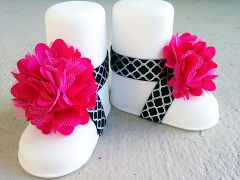 Hot Pink, Black and Metallic Quatrefoil Piggy Petals