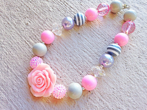 Pink and Grey Chunky Necklace