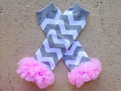 BLOWOUT Pink and Grey Chevron Leg Warmers