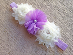 Lavender and Ivory 3 Flower Headband