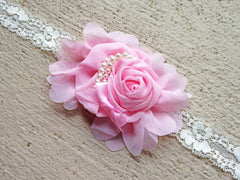 Jeweled Chiffon Flower Headband