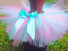 Pink and Aqua  Poofy Tutu with Satin Bow