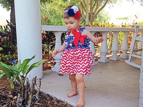 CLEARANCE Patriotic Ruffle Dress