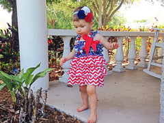BLOWOUT Red, White, and Blue Satin Ruffled Dress
