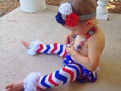 BLOWOUT Red, White, and Blue Chevron Leg Warmers