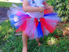 Red, White and Blue Poofy Tutu with Satin Bow