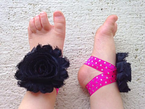 Black, Hot Pink, Metallic  Polka Dot Piggy Petals