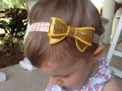 Pink and Gold Sequin Headband