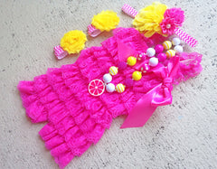 Pink and Yellow Lace Romper Outfit