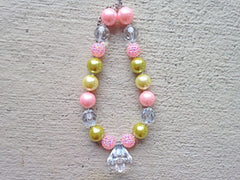 Pink, Ivory and Old Gold Chunky Necklace