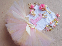 Light Pink, Gold and Ivory Poofy Tutu with Satin Bow
