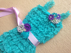 Teal and Purple Romper Outfit