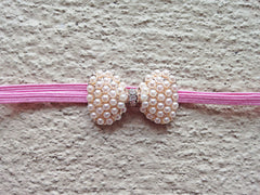Pink and Gold Bow Newborn Headband