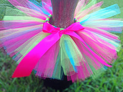 Hot Pink, Turquoise, Lime Green Poofy Tutu with Satin Bow