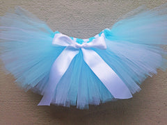 Light Blue and White Poofy Tutu with Satin Bow