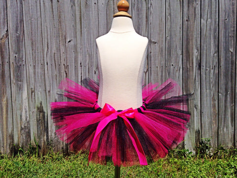 Hot Pink and Black Poofy Tutu with Satin Bow