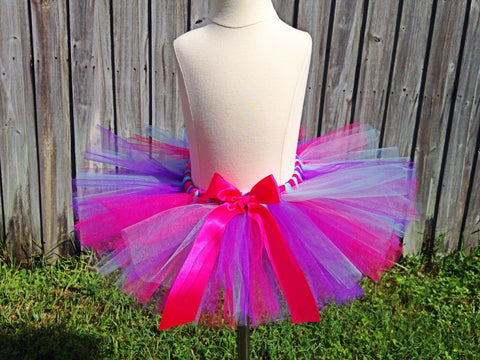 Hot Pink, Purple, Light Blue Poofy Tutu with Satin Bow