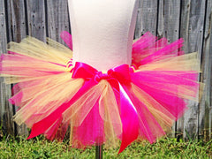 Hot Pink And Yellow  Poofy Tutu with Satin Bow
