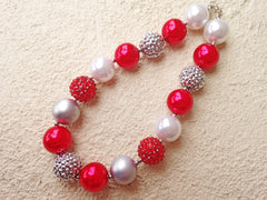 BLOWOUT Red and Silver Chunky Necklace
