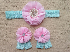 Pink and Aqua Lace Headband