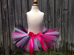 Hot Pink, Black, White Zebra Poofy Tutu with Satin Bow