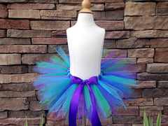 Peacock Poofy Tutu with Satin Bow