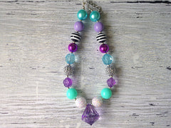 Purple and Aqua Chunky Necklace