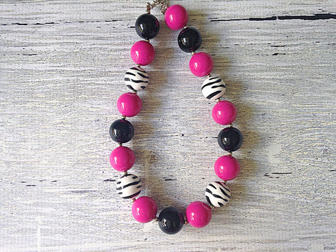 BLOWOUT: Zebra Hot Pink Chunky Necklace
