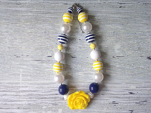 CLEARANCE Sunny Day Yellow & Navy Statement Necklace