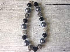 Black and Silver Sparkle Chunky Necklace