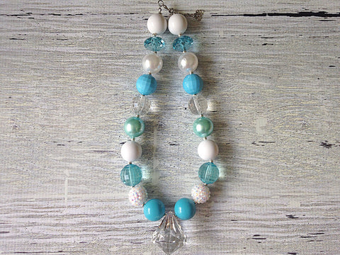 BLOWOUT Aqua and White Chunky Necklace