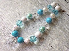 Aqua and White Chunky Necklace