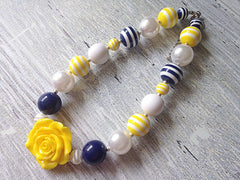 Yellow and Navy Chunky Necklace