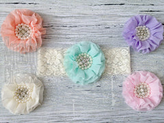 Chiffon Jeweled Lace Headband