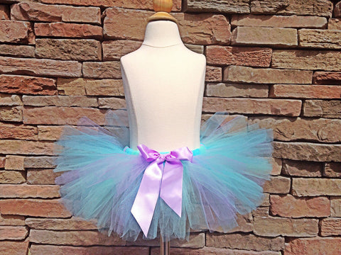Aqua, Lavender Mint Poofy Tutu with Satin Bow