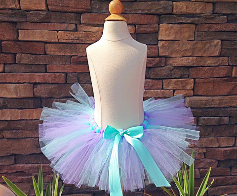 Aqua and Lavender Poofy Tutu with Satin Bow