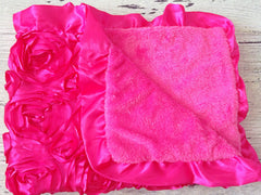 Hot Pink Plush Baby Blanket