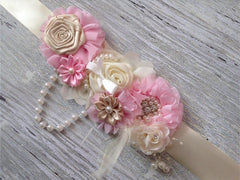 Light Pink and Ivory Belly to Birth Sash